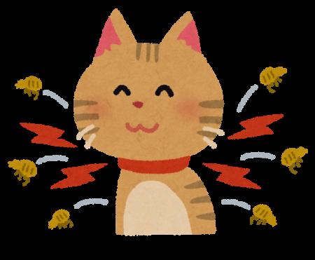 猫とノミ取り首輪のイラスト